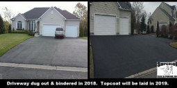 This driveway is in the binder phase.  The topcoat will be completed next year.